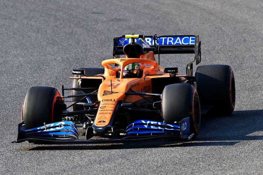 Lando Norris on track in the McLaren