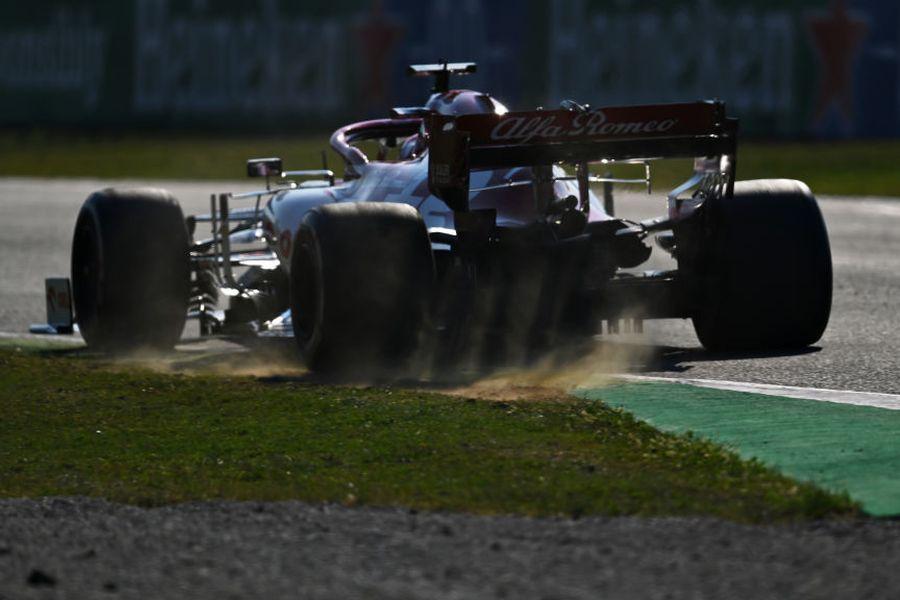 Kimi Raikkonen on track in the Alfa Romeo