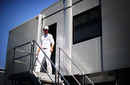 Michael Schumacher leaves the Mercedes motorhome
