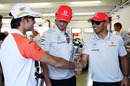 Tonio Liuzzi with Jenson Button and Lewis Hamilton on race day