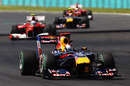 Sebastian Vettel leads Fernando Alonso and Mark Webber