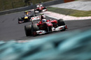 Fernando Alonso leads Mark Webber