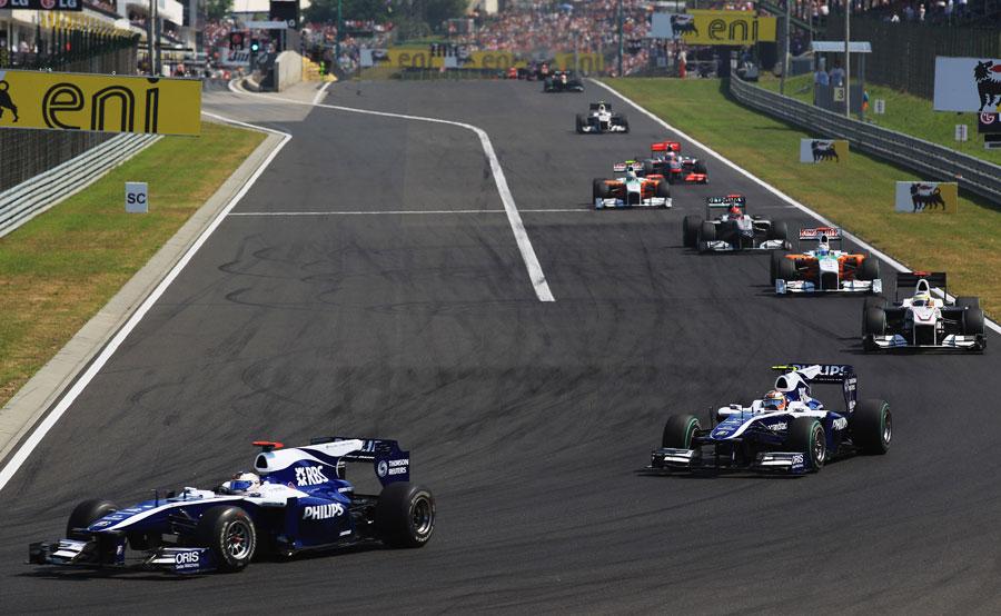 Rubens Barrichello leads team-mate Nico Hulkenberg