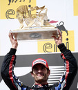 Mark Webber with his winner's trophy