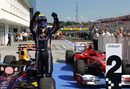 Mark Webber celebrates in parc ferme