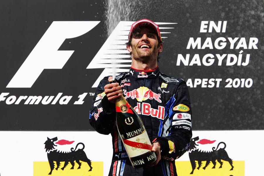 Mark Webber celebrates victory