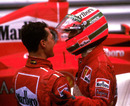 Michael Schumacher and Eddie Irvine after the 1997 Monaco Grand Prix