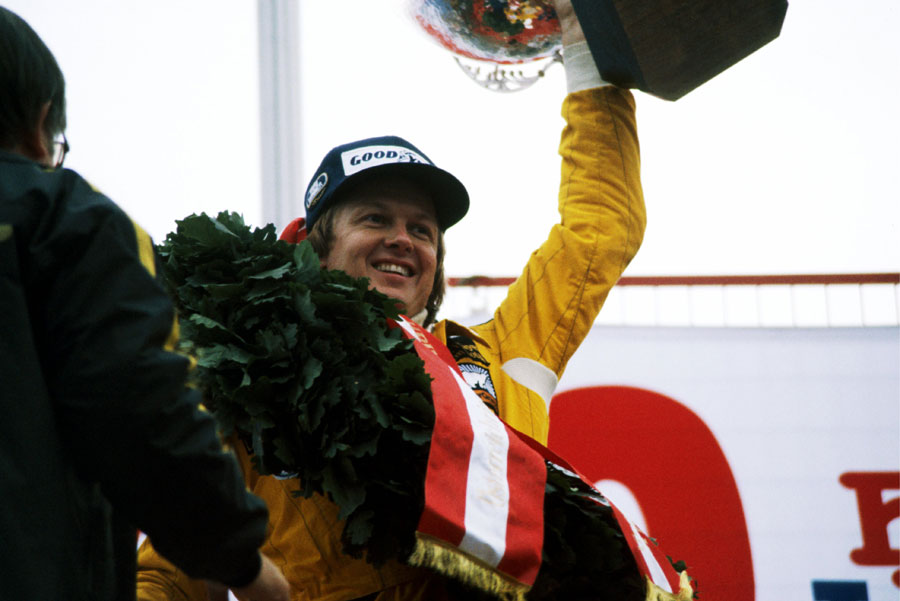 Ronnie Peterson celebrates the last of his grand prix victories in Austria