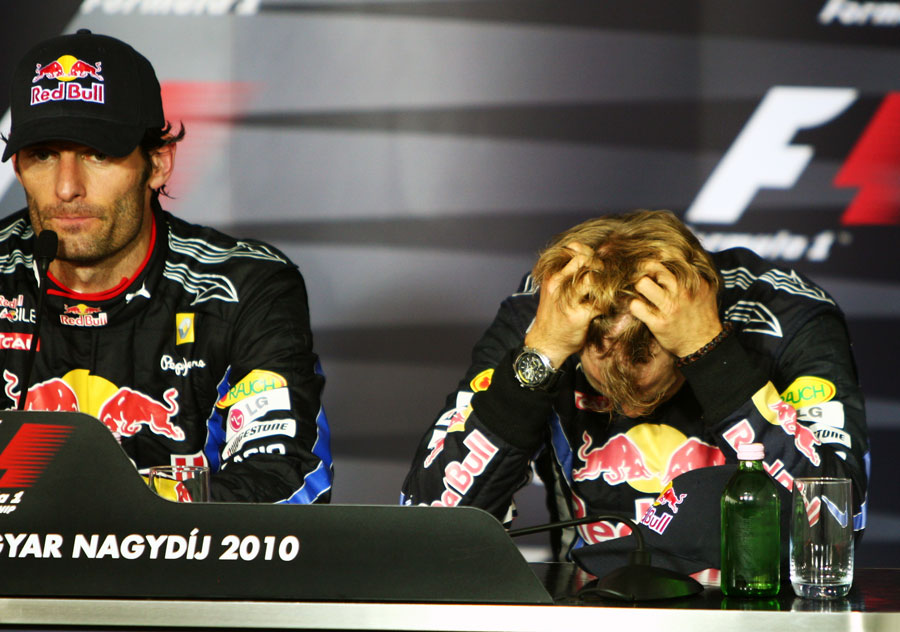A devastated Sebastian Vettel in the post-race press conference