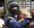 Damon Hill congratulates Jacques Villeneuve after the Hungarian Grand Prix