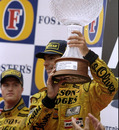 Damon Hill celebrates winning the Belgian Grand Prix as Ralf Schumacher looks on