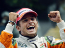 Giancarlo Fisichella celebrates his second place finish at Spa