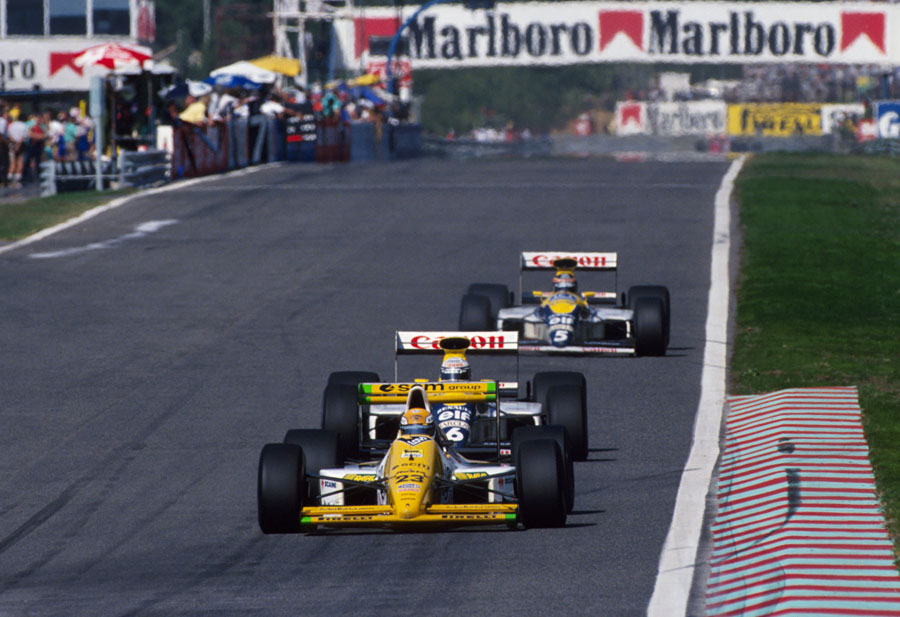 Pierluigi Martini led lap 40 of the Portugeuse Grand Prix, the only Minardi ever to do so
