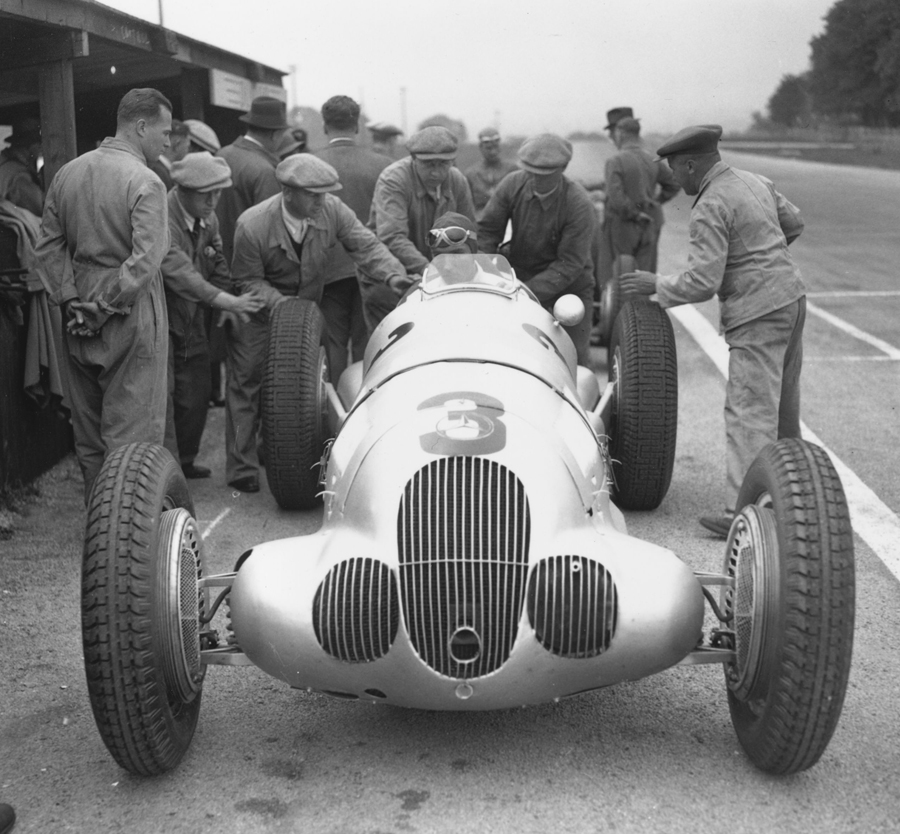 Manfred von Brauchitsch at the wheel of his Mercedes Benz