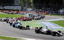 Juan Pablo Montoya heads the field at the start of the Italian Grand Prix