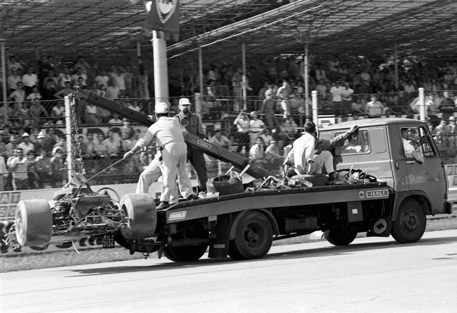 The wreckage of Jochen Rindt's Lotus