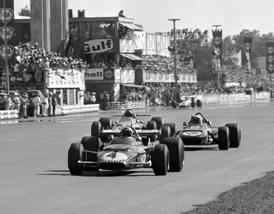 Clay Regazzoni leads Jackie Stewart and Denny Hulme