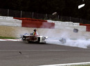 Ricardo Zonta has a big accident at Eau Rouge during practice for the 1999 Belgian Grand Prix