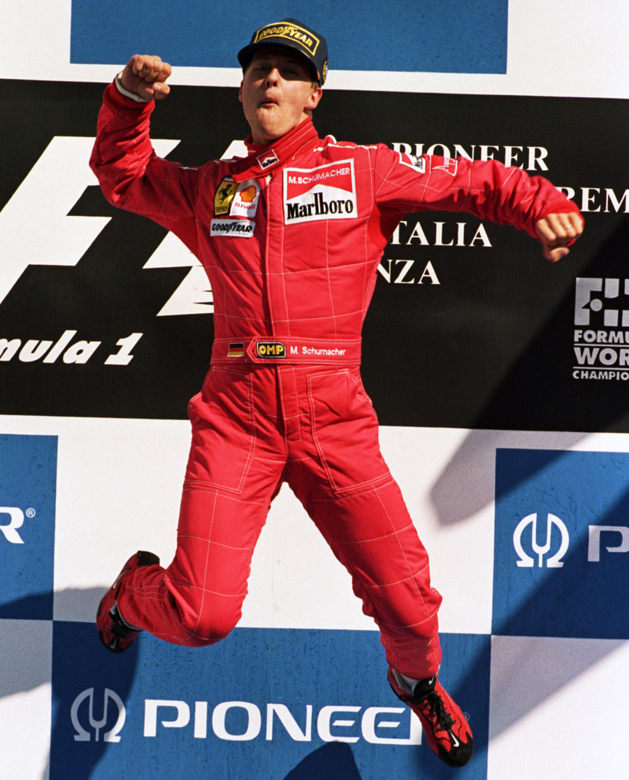 The first of many victory leaps at Monza for Michael Schumacher
