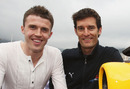 Mark Webber meets Manchester United player Michael Carrick