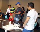 Bruno Senna shows off his helmet to the Stavelot and Malmedy police
