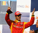 Lucas di Grassi celebrates his third place finish in the GP2 race at Spa