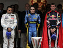 Juan Pablo Montoya, Fernando Alonso and David Coulthard outside the royal box