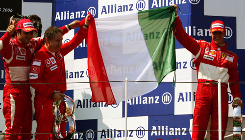 Ferrari celebrate Michael Schumacher's win at the 2006 French Grand Prix