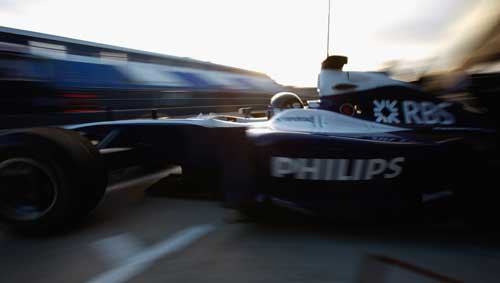Nico Hulkenberg left the pits at sunrise on day two at Jerez