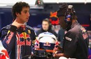 Daniel Ricciardo talking with his mechanics before leaving the pits on day two of testing