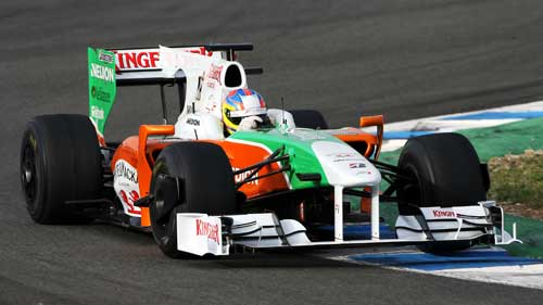 Paul di Resta returned to the track for Force India on day two
