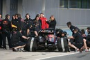 Daniel Ricciardo back in the pits as he tests with Red Bull