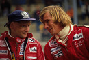 Niki Lauda and James Hunt share a joke at the 1977 Belgian Grand Prix
