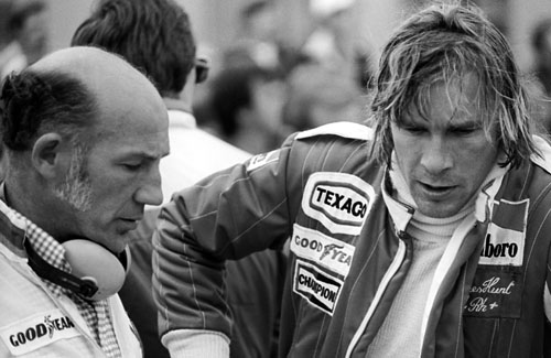 Stirling Moss with world champion James Hunt