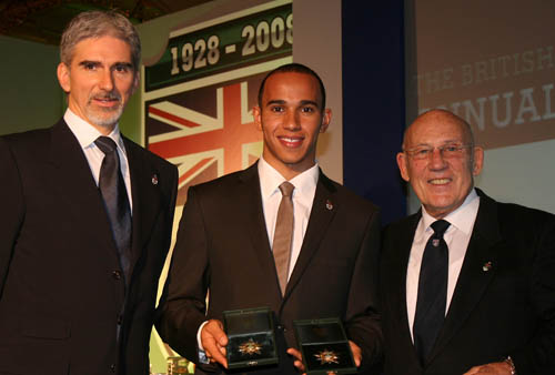 Damon Hill and Lewis Hamilton with Sir Stirling Moss