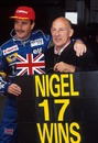 Nigel Mansell celebrates his record number of wins for an Englishman