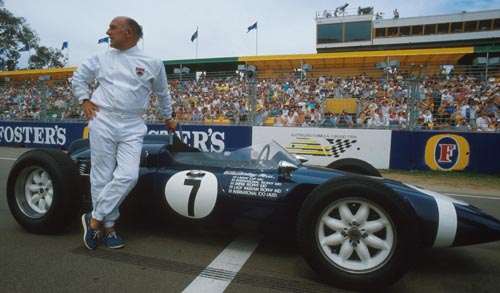 Sir Stirling Moss with a Cooper T51 at the 1987 Australian Grand Prix