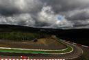 Dark skies loom above Fernando Alonso's Ferrari on Saturday