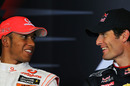 Lewis Hamilton and Mark Webber in the press conference