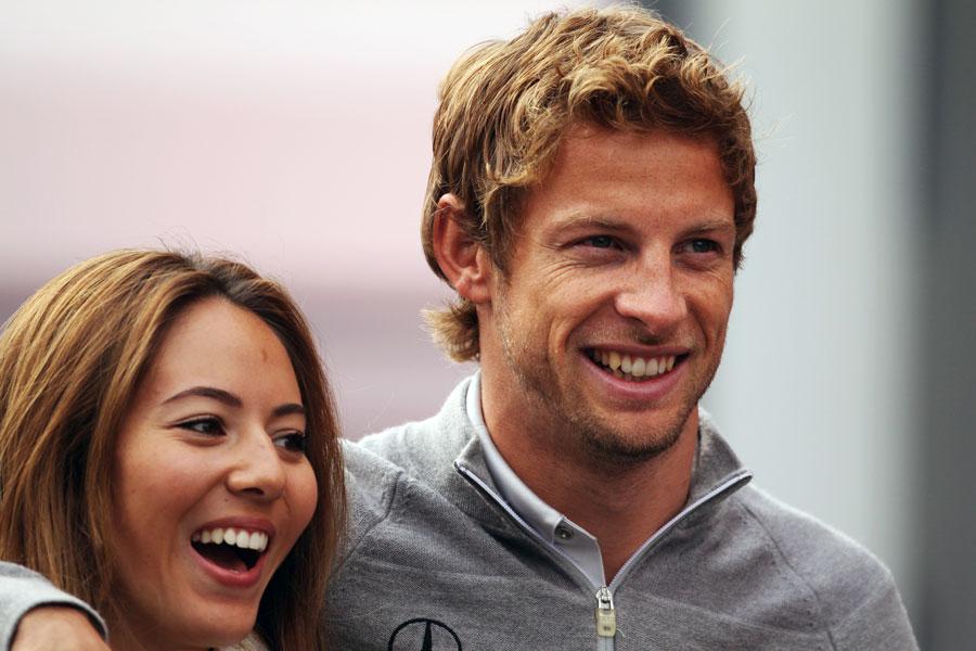 Jenson Button with girlfriend Jessica Michibata on race day