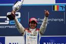 Sergio Perez celebrates victory in race 2 at Spa