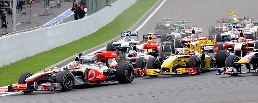 Lewis Hamilton leads the field into the first corner