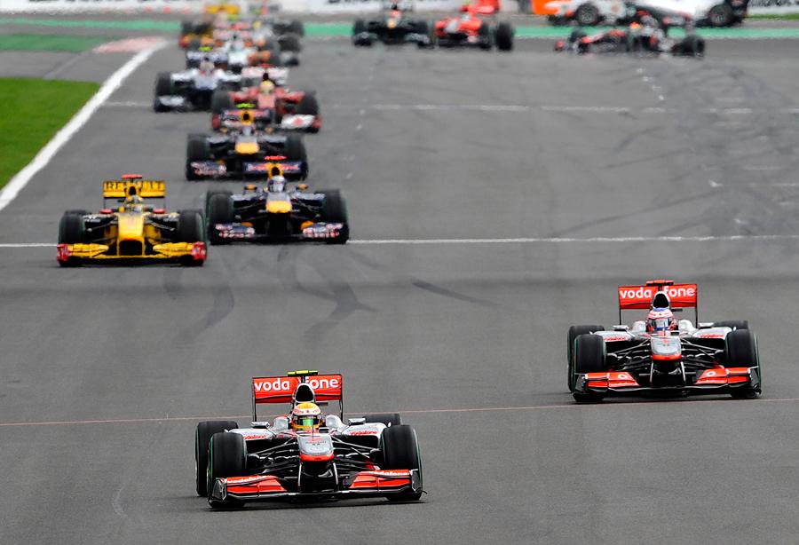 Lewis Hamilton leads Jenson Button