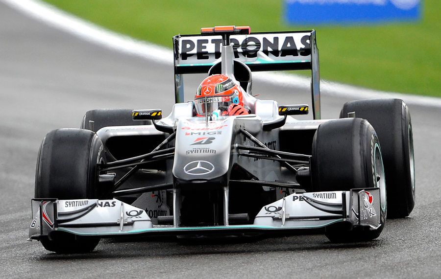 Michael Schumacher battles through at Spa