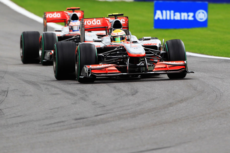 Lewis Hamilton leads Jenson Button in the early stages