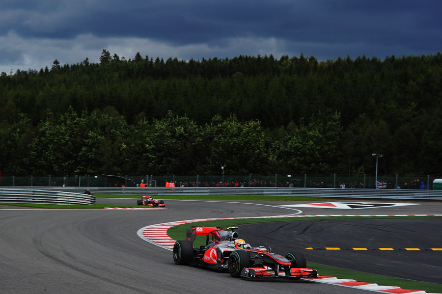 Lewis Hamilton leads in Spa