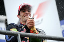 Mark Webber celebrates finishing second