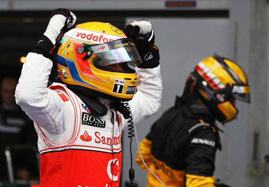 Lewis Hamilton celebrates in parc ferme