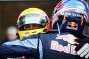 Mark Webber congratulates Lewis Hamilton