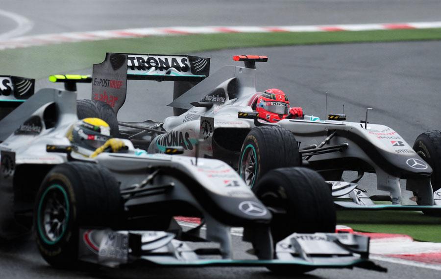 Nico Rosberg leads Michael Schumacher